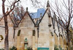 walls of musee de cluny in paris - stock photo