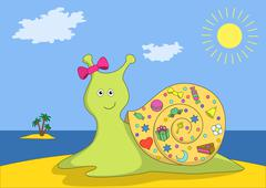 Snail with gifts on island Stock Illustration