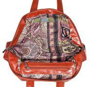 Wide open leather handbag Stock Photos