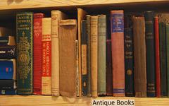 Second-hand bookstore shelf - stock photo