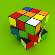 Illustration of multi color puzzle cube - stock illustration
