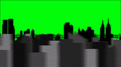 City Skyline Silhouette on a Green Screen Background Stock Footage