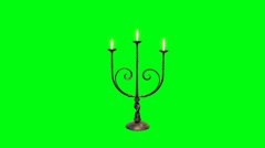Candle Stick with Burning Candles on a Green Screen Background Stock Footage