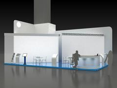 Exhibition Stand Kiosk Interior Exterior - stock illustration