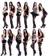 full length of a beautiful models  isolated on white - stock photo