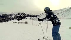Skier left front view Stock Footage