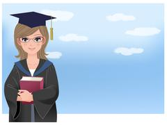 happy graduating student holding disloma against blue sky - stock illustration