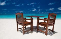 Beach restaurant on a maldivian island Stock Photos