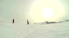 Skiiers front view Stock Footage