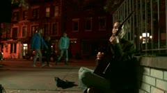 City Busker and Girl Stock Footage