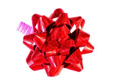 Decorative red bow on white background Stock Photos