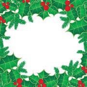 Christmas background with holly berry leaves on dark green background - stock illustration