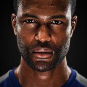 african american athlete portrait with blank expression - stock photo