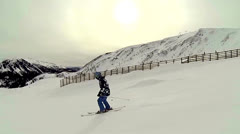 Skiing view from far Stock Footage