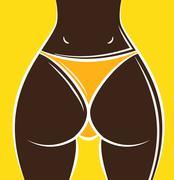 sexy woman ass - stock illustration