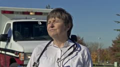 Female Paramedic Stock Footage