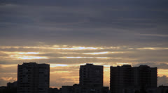 Golden lights from heaven over town Stock Footage