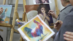Painting drawing - oil. - stock footage