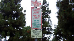 Stock Video Footage of City Park Sign Listing Activities Restrictions- Whittier CA