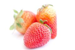 big red strawberry isolated on white - stock photo