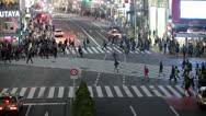 Fast playback of Shibuya pedestrian scramble in Tokyo city, Japan Stock Footage
