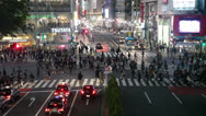 People finish to cross Shibuya pedestrian scramble in Tokyo city, Japan Stock Footage