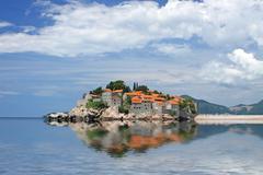 Sveti Stefan island in Adriatic sea, Montenegro Stock Photos