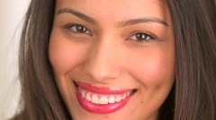 Close up of beautiful mexican woman smiling Stock Footage