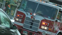 Rescue Squad truck, DC Fire Dept., zooms past, rakish angle Stock Footage