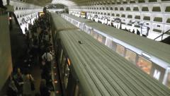 DC Metro overcrowded platform, train leaves them behind Stock Footage