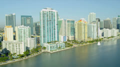 Aerial waterfront view Miami City, USA Stock Footage