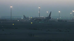 Qatar airport early morning 1/2 Stock Footage