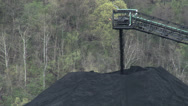 Stock Video Footage of Coal Conveyor Creating Pile of Coal