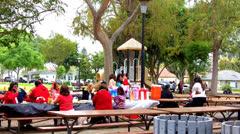 Hispanic Family Picnic At Whittier California City Park Stock Footage