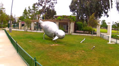 Metal Bird Sculpture At Whittier California City Park- Zoom Stock Footage