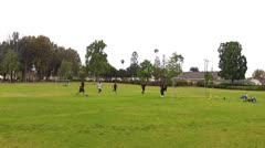 Teen Boys Play Soccer In City Park- Whittier California Stock Footage