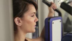 Woman, sport and wellbeing, female athlete training in fitness club Stock Footage