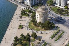 white tower aerial view, thessaloniki, greece - stock photo