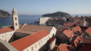 Stock Video Footage of Croatia, Dubrovnik, Town and Adriatic Sea, Overview Pan LS