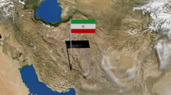 Iranian flag on pole on earth globe animation Stock Footage
