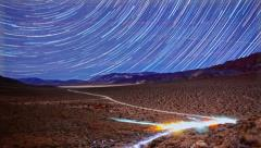 Galaxy Star Trails Timelapse Above Death Valley National Park Desert Stock Footage
