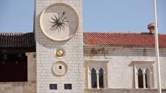 Croatia, Dubrovnik, Sun Clock-Face Octopus Clock-Face on The Old Clock Tower Stock Footage