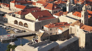 Stock Video Footage of Croatia, Dubrovnik, Town Detail From Above Tilt Up