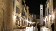 Stock Video Footage of Croatia, Dubrovnik, Walk Streets Lit at Night
