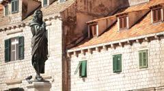 Croatia, Dubrovnik, Ivan Gundulic Statue - stock footage