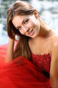 beautiful young women in red dress - stock photo