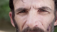 Portrait of sad adult hispanic man with beard, close up - stock footage