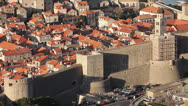 Stock Video Footage of Croatia, Dubrovnik, Town and Wall From Above