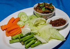 """thai cuisine call """"nam prik"""" and fried pork with vegetables - stock photo"""