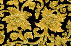 golden flower of bas-relief  pattern thai style - stock photo